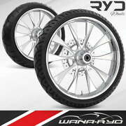 Diode Chrome 26 Front And Rear Wheels Tires Package Single Disk 00-07 Bagger