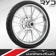 Ryd Wheels Diode Chrome 21 Fat Front Wheel Tire Package 13 Rotor 08-19 Bagger