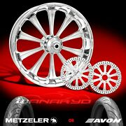 Performance Machine Revel Chrome 21 Front Wheel, Tire And Dual Rotors, 00-13 Flh