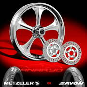 Wanaryd Adrenaline Chrome 21 Front Wheel Rotors Tire Package Kit 14 Harley Abs