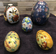 Lot Of 5 Collectible Decorative Eggs Various Sizes, Styles And Finishes Beautiful