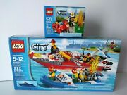 Lego City 60005 Fire Department Speed Boat + 60000 Fire Motorcycle Rare/retired