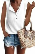 Glanzition Womens Tops Short Sleeve V Neck Button Up Loose Waffle Knit Tunic Hen