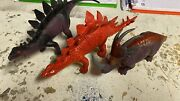 3 Vintage Toy Dinosaur Action Figures As Pics Great Collectable Toys X