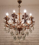 Antique Vintage 10 Arms Cast Brass And Crystals Cherub Chandelier Lighting Lamp