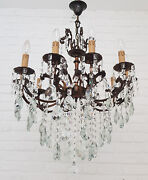 Antique Vintage 10 Arms Cast Brass And Crystals Beautiful Chandelier Lighting Lamp
