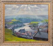 Large Early 20th Century English View Of Whitby Yorkshire By John Burton