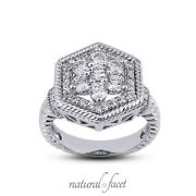 0.84ctw F/vs2 Round Cut Earth Mined Certified Diamonds White Gold Halo Fine Ring