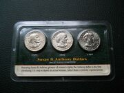 Littleton 3-coin Susan B. Anthony Dollars Set Uncirculated