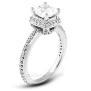 4.16ct F/vs1 Cushion Natural Certified Diamonds White Gold Halo Side Stone Ring