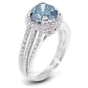 2.44ct Blue Si2 Round Earth Mined Certified Diamonds 18k Halo Engagement Ring