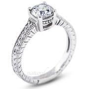 0.97ct E/si1 Round Natural Certified Diamonds Platinum Vintage Style Accent Ring