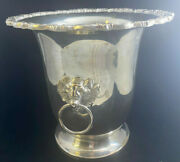 Ice Bucket Poole Silver Company Silverplate Lion Ring Handles Vintage Gadron