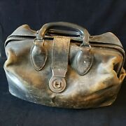 Antique Schell Top Grain Leather Satchel Doctors Bag Medical Numbered Marked