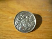 Victorian Silver Round Pin Broach With Bird Branch And Leaf Design