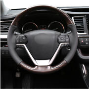 Fit For Toyota Highlander 2014-2019 Wood Grain Steering Wheel Round Cover Trim