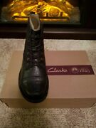 Clarks Collection Soft Cushion Marine Blue Leather Boots Whistle Watch 6.5