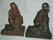 Antique Kbw Camp Fire Girls Of America Usa Scout Statue Sculpture Sign Bookends