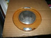 Vintage Silver And Celluloid Compact-puff Marked M F Looks Like Flying Saucer