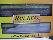 Brand New Mth Railking 30-68008 Seaboard 4-car 60and039 Streamlined Passanger Set