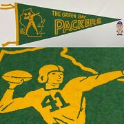 1960s Vintage Green Bay Packers Wisconsin Nfl Football Pennant 11.5x28.5
