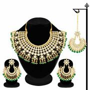 Gold Plated Indian Traditional Wedding And Party Wear Kundan Green Necklace A999