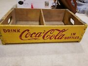 Vintage Yellow Coca-cola Wood Soda Bottle Crate Carrier 1960s