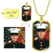 Personalized Picture Dog Tag Military Necklace Custom Photo Gifts For Boys Men