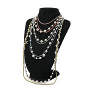 Authentic Necklace Pearl 5 Consecutive Gp Fake Pearl A19s Ladies W / Box