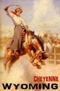 Cheyenne Wyoming Rodeo Cowgirl Riding Bucking Horse Vintage Poster Repro Free Sh