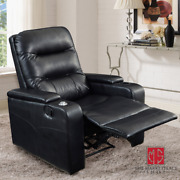 Black Faux Leather Movie Theater Recliner Chair Seat Home Padded Usb Cup Holder