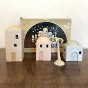 1982 Precious Moments Nativity Accessories 3 Buildings And One Palm Tree E-2387