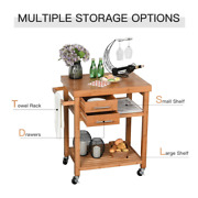 Bamboo Rolling Kitchen Island Trolley Utility Cart With Rolling Wheels Portable