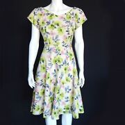 Vtg 1950s 1960s House Wife Dress Green Pink Floral Fit N Flare Pin-up Betty 0560