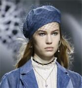 Dior Beret Hat With Veil Blue Denim Womenand039s Size 58 Used 113/me