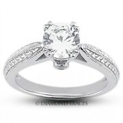 3/4ct F Si1 Round Natural Certified Diamonds 18k Vintage Style Side Stone Ring