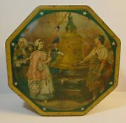 Old Vintage 1950s Sunshine Biscuit Tin United States History Graphic Tin Litho
