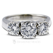 1.80ct H-si1 Round Natural Certified Diamonds 18k Gold Classic Three Stone Ring
