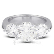 1.34ct F-si1 Round Natural Certified Diamonds 950 Plat. Classic Engagement Ring
