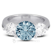 1.38ct Blue Si2 Round Natural Certified Diamonds Plat Classic Three Stone Ring