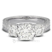 1.45ct E-si2 Round Natural Certified Diamonds 14k Vintage Style 3-stone Ring