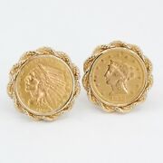 Vintage/antique 1853 Liberty And 1914 Indian Head Gold Coin 14k Gold Cufflinks 18g
