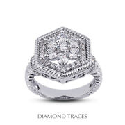 1ct F Vs1 Round Earth Mined Certified Diamonds 950 Plat. Halo Right Hand Ring