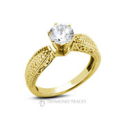 1/2ct D Si1 Round Natural Diamond 18k Vintage Style Solitaire Engagement Ring