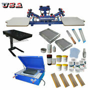 Updated 4 Color 2 Station Screen Printing Kit Machine Andflash Dryer Exposure Unit