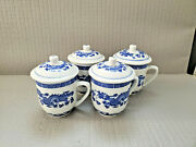 Modern Vintage Chinese Set Of 4 Blue White Dragon Porcelain Cover Tea Cup 5''t