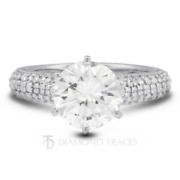 1.96 Ctw E-si3 Round Cut Earth Mined Certified Diamonds 14k Gold Side Stone Ring