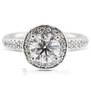 1.68ct D-vs2 Round Earth Mined Certified Diamonds 18k Gold Halo Side Stone Ring