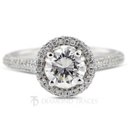 1 1/2ct E Si2 Round Cut Natural Certified Diamonds 18k Gold Halo Side Stone Ring