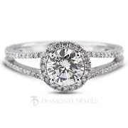 1.32ct F-vs2 Round Earth Mined Certified Diamonds 18k Gold Halo Side Stone Ring